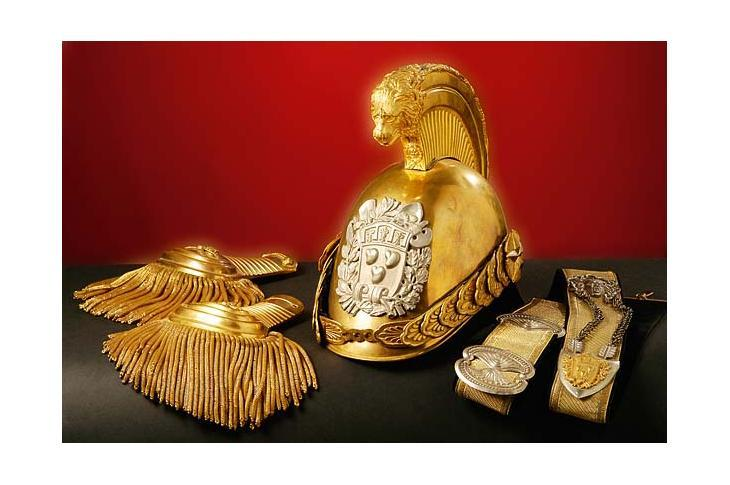Un elmo Foto Museo degli elmi dei pompieri